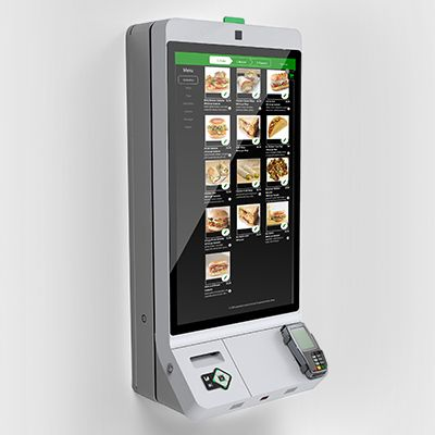 wall mounted NCR XK32 self ordering kiosk
