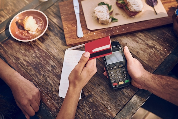 mobile payment terminal accepting credit card payment