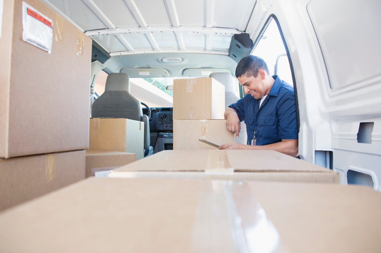 service worker delivery male man for warehouse and inventory storage