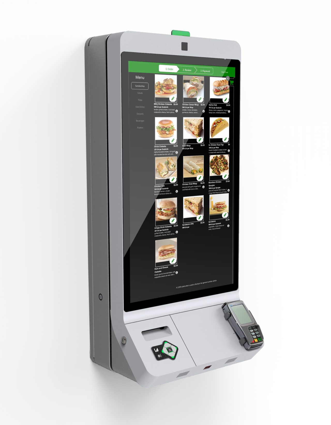 Product photo of hardware and display of self ordering kiosk