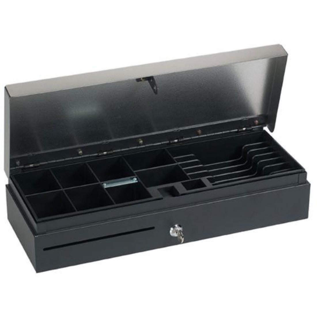 NCR 2185 Flip-Top Cash Drawer, open, with currency tray, viewed from a front-left angle