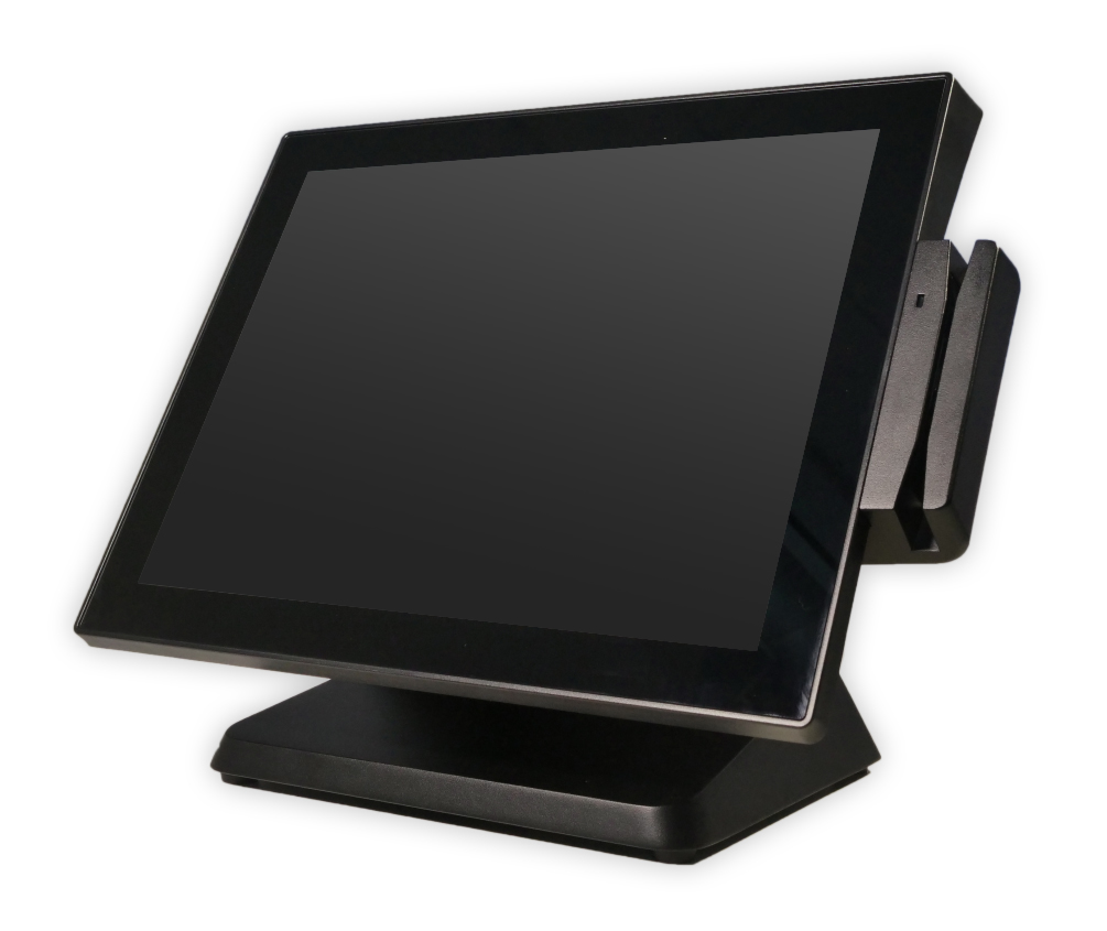 Front right view of NCR POS terminal EX series with card swiper and screen off
